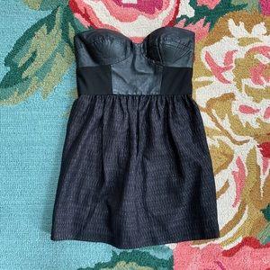 Tibi Strapless Leather Bodice Dress
